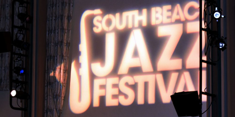 South Beach Jazz Festival logo projected on a screen