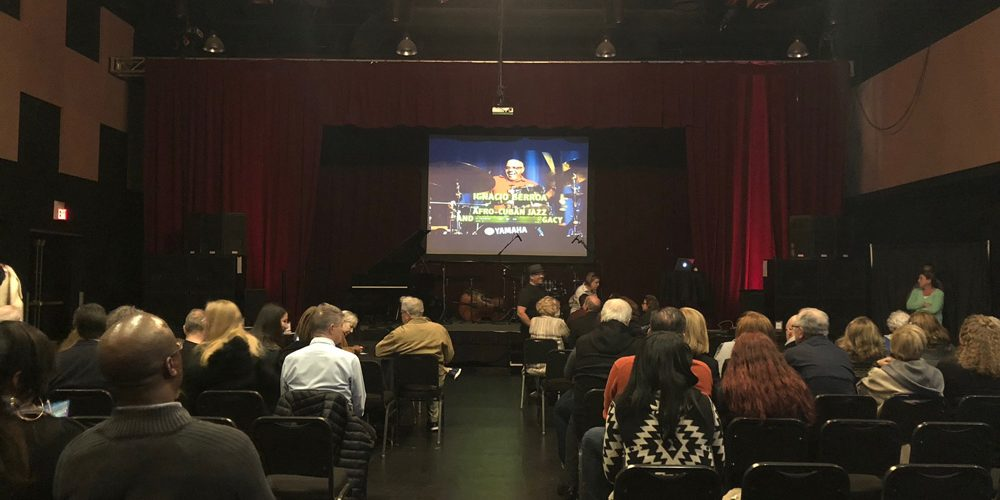 Photo of attendees enjoying the video teaching presentation, Afro-Cuban Jazz & Beyond by Ignacio Berroa