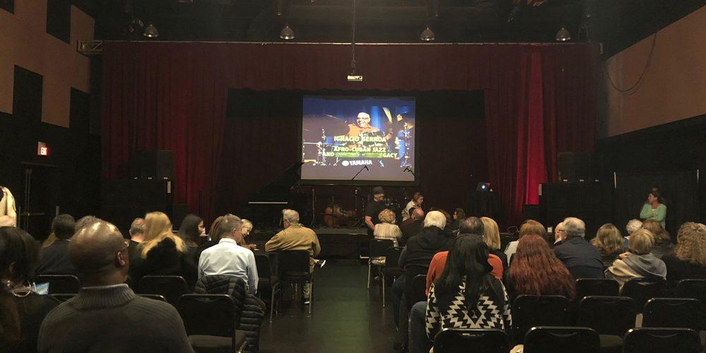 Photo of attendees enjoying the video teaching presentation, Afro-Cuban Jazz & Beyond by Ignacio Berroa